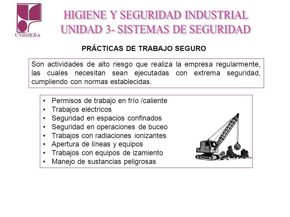 UNIOJEDA Permisos de trabajo en frío /caliente Trabajos eléctricos Seguridad en espacios confinados Seguridad en operaciones de buceo Trabajos con rad