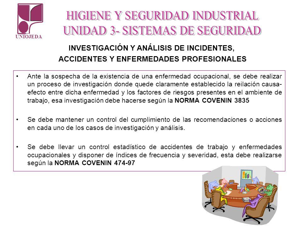 UNIOJEDA INVESTIGACIÓN Y ANÁLISIS DE INCIDENTES, ACCIDENTES Y ENFERMEDADES PROFESIONALES Ante la sospecha de la existencia de una enfermedad ocupacion