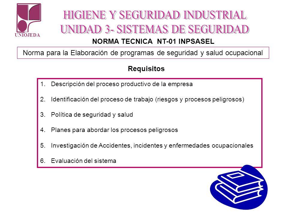 UNIOJEDA NORMA TECNICA NT-01 INPSASEL Norma para la Elaboración de programas de seguridad y salud ocupacional Requisitos 1.Descripción del proceso pro