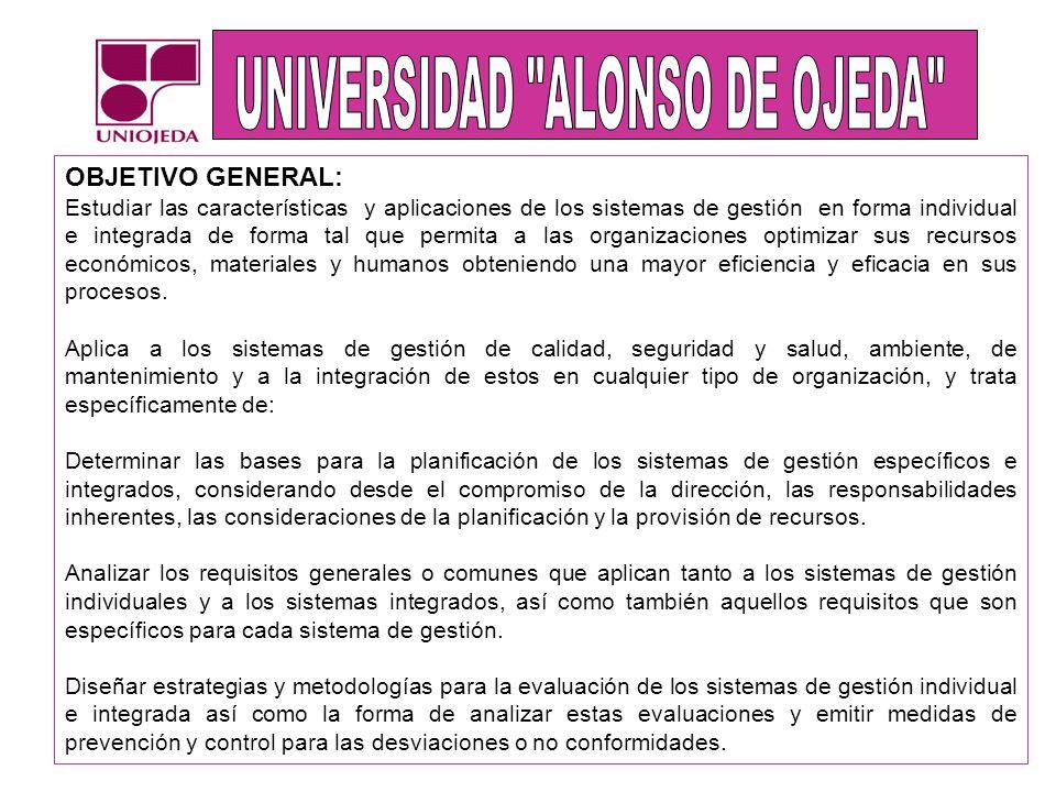 UNIDAD I: PLANIFICACION DEL SISTEMA INTEGRADO DE GESTION UNIDAD II: ELEMENTOS GENERALES DEL SISTEMA INTEGRADO DE GESTION UNIDAD III: ELEMENTOS ESPECIFICOS DEL SISTEMA INTEGRADO DE GESTION UNIDAD IV: EVALUACION DEL SISTEMA INTEGRADO DE GESTION CONTENIDO PROGRAMATICO