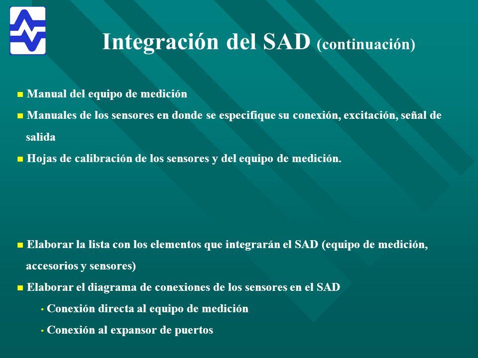 Integración del SAD (continuación) n n Manual del equipo de medición n n Manuales de los sensores en donde se especifique su conexión, excitación, señ