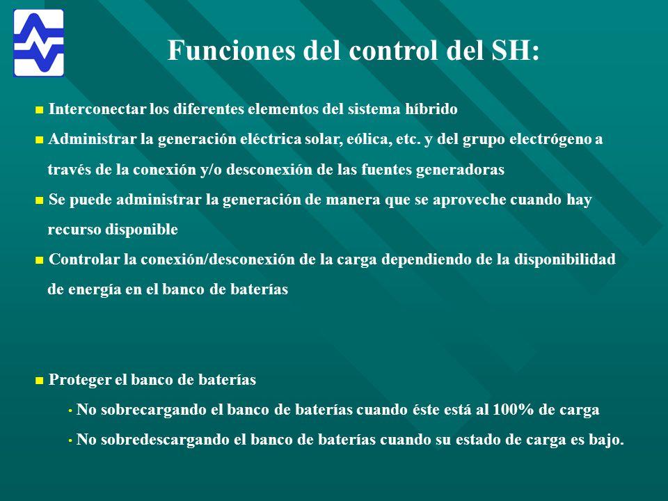 Funciones del control del SH: n n Interconectar los diferentes elementos del sistema híbrido n n Administrar la generación eléctrica solar, eólica, et