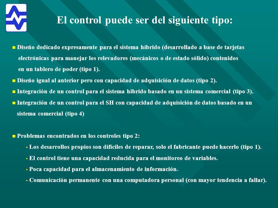 El control puede ser del siguiente tipo: n n Diseño dedicado expresamente para el sistema híbrido (desarrollado a base de tarjetas electrónicas para m