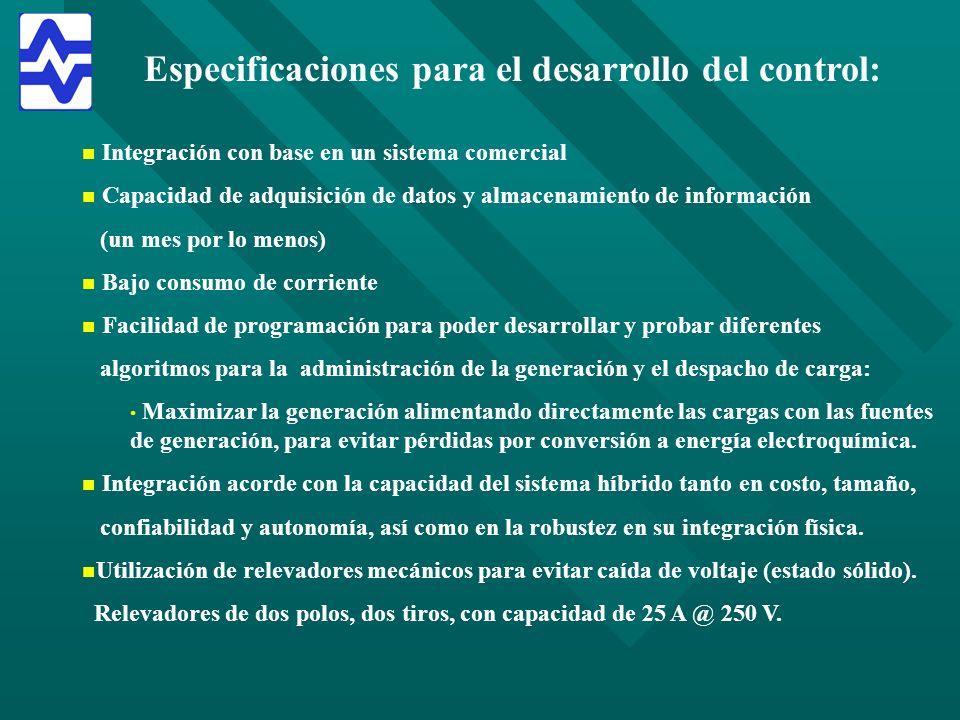 Especificaciones para el desarrollo del control: n n Integración con base en un sistema comercial n n Capacidad de adquisición de datos y almacenamien