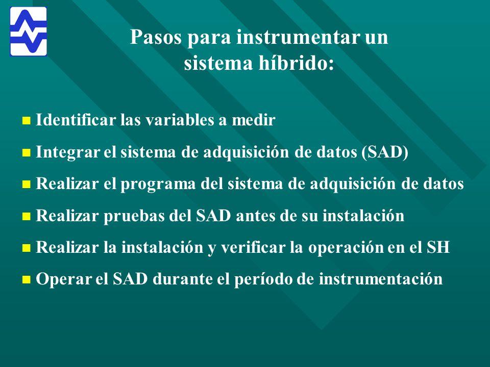Pasos para instrumentar un sistema híbrido: n n Identificar las variables a medir n n Integrar el sistema de adquisición de datos (SAD) n n Realizar e