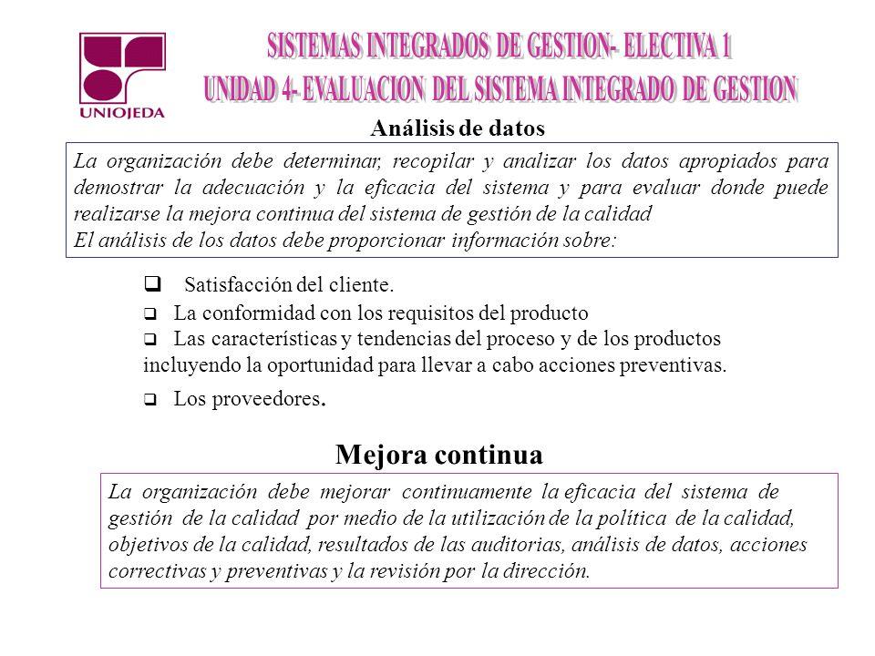 Análisis de datos La organización debe determinar, recopilar y analizar los datos apropiados para demostrar la adecuación y la eficacia del sistema y