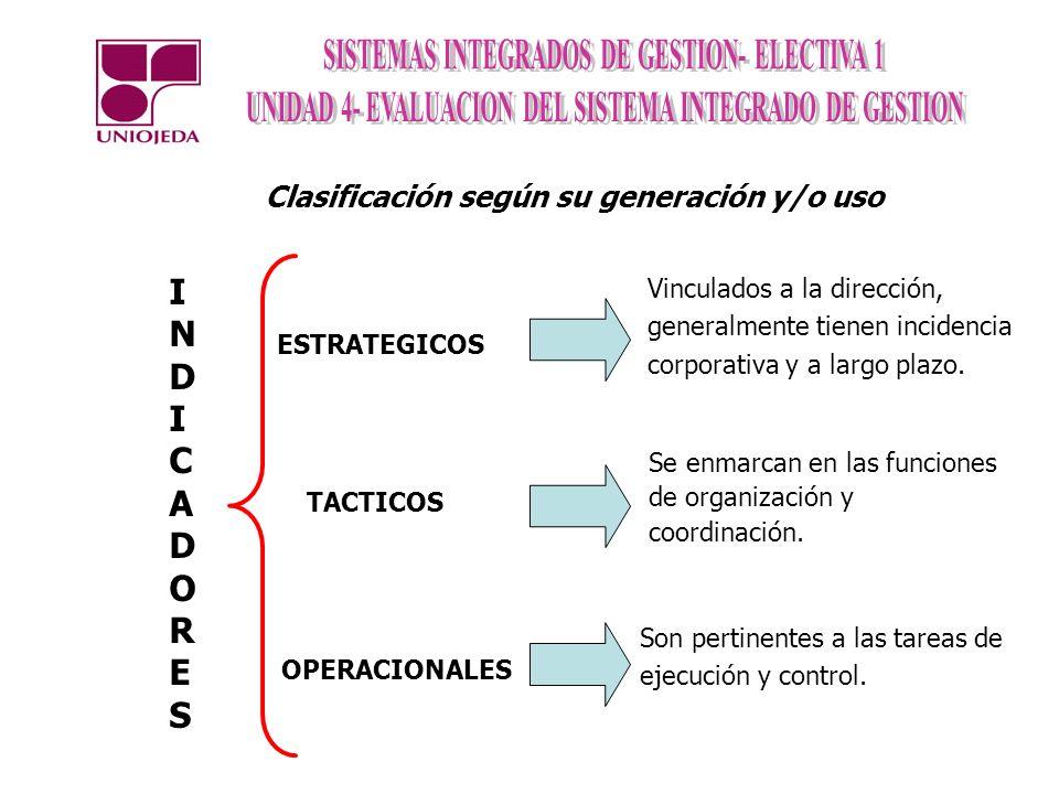 Clasificación según su generación y/o uso ESTRATEGICOS OPERACIONALES INDICADORESINDICADORES TACTICOS Vinculados a la dirección, generalmente tienen in