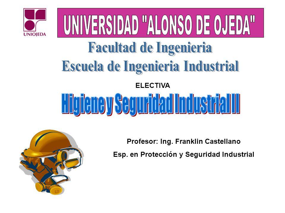 Profesor: Ing. Franklin Castellano Esp. en Protección y Seguridad Industrial ELECTIVA
