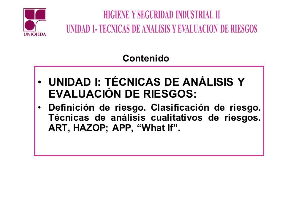UNIDAD I: TÉCNICAS DE ANÁLISIS Y EVALUACIÓN DE RIESGOS: Definición de riesgo. Clasificación de riesgo. Técnicas de análisis cualitativos de riesgos. A