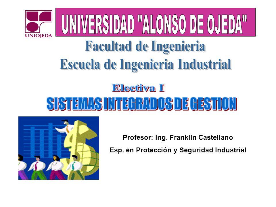 Profesor: Ing. Franklin Castellano Esp. en Protección y Seguridad Industrial