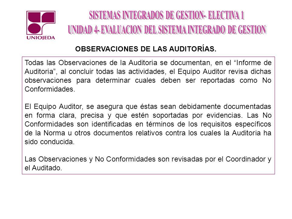 Todas las Observaciones de la Auditoria se documentan, en el Informe de Auditoria, al concluir todas las actividades, el Equipo Auditor revisa dichas