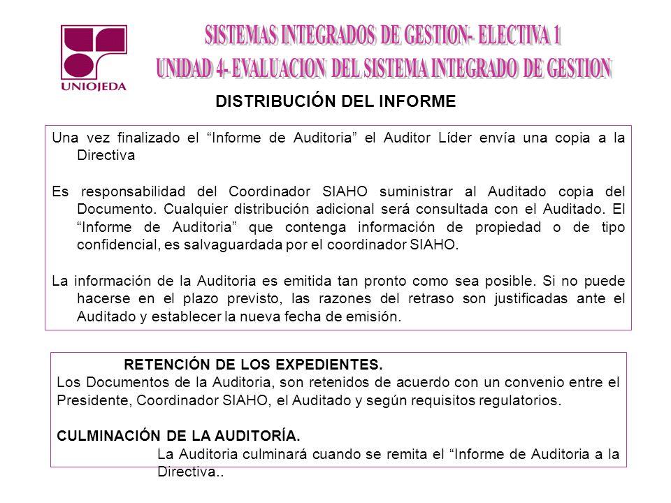 Una vez finalizado el Informe de Auditoria el Auditor Líder envía una copia a la Directiva Es responsabilidad del Coordinador SIAHO suministrar al Aud