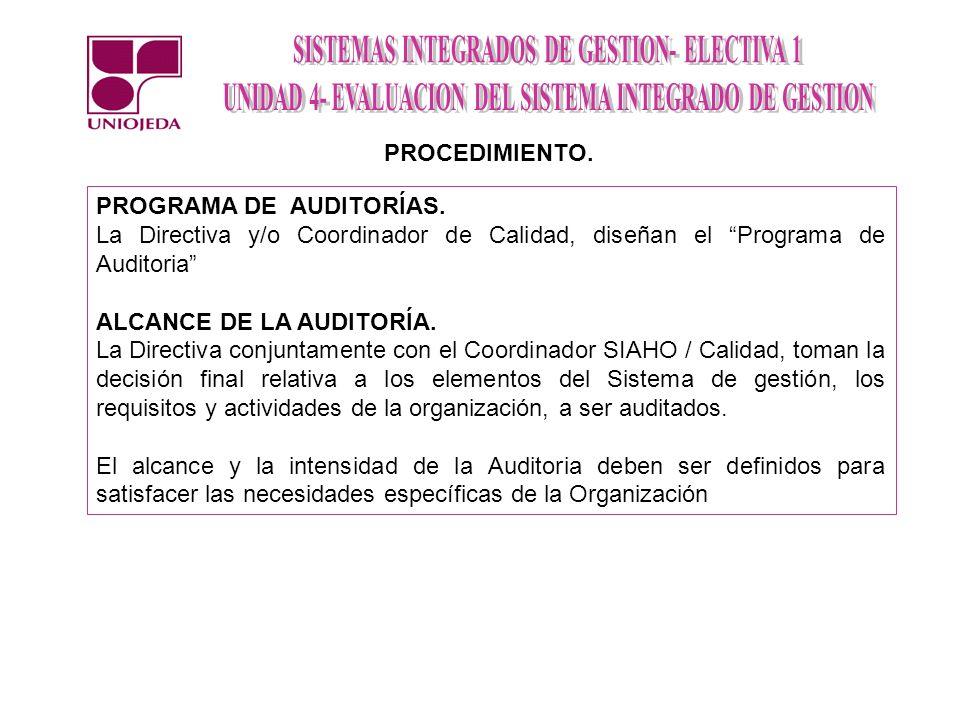 PROGRAMA DE AUDITORÍAS. La Directiva y/o Coordinador de Calidad, diseñan el Programa de Auditoria ALCANCE DE LA AUDITORÍA. La Directiva conjuntamente