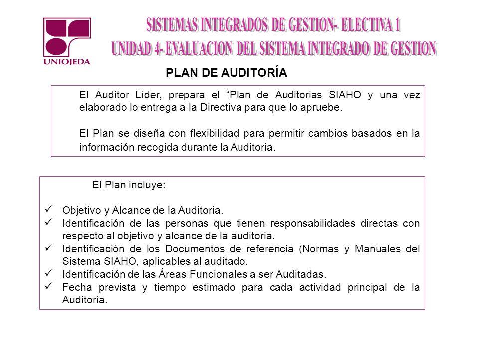 El Auditor Líder, prepara el Plan de Auditorias SIAHO y una vez elaborado lo entrega a la Directiva para que lo apruebe. El Plan se diseña con flexibi