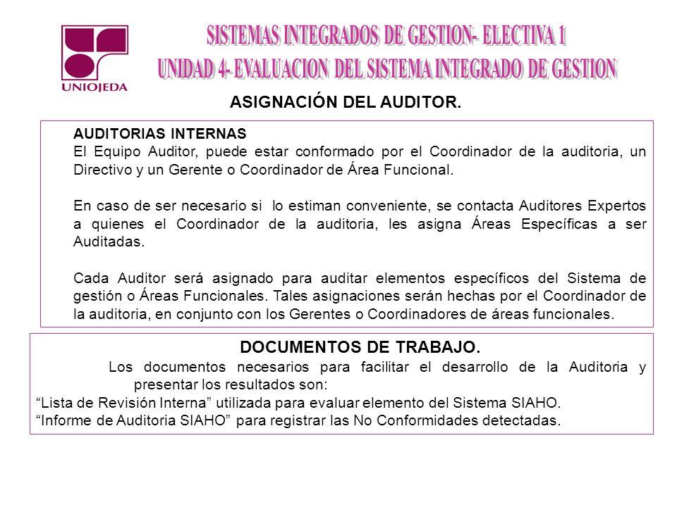 AUDITORIAS INTERNAS El Equipo Auditor, puede estar conformado por el Coordinador de la auditoria, un Directivo y un Gerente o Coordinador de Área Func