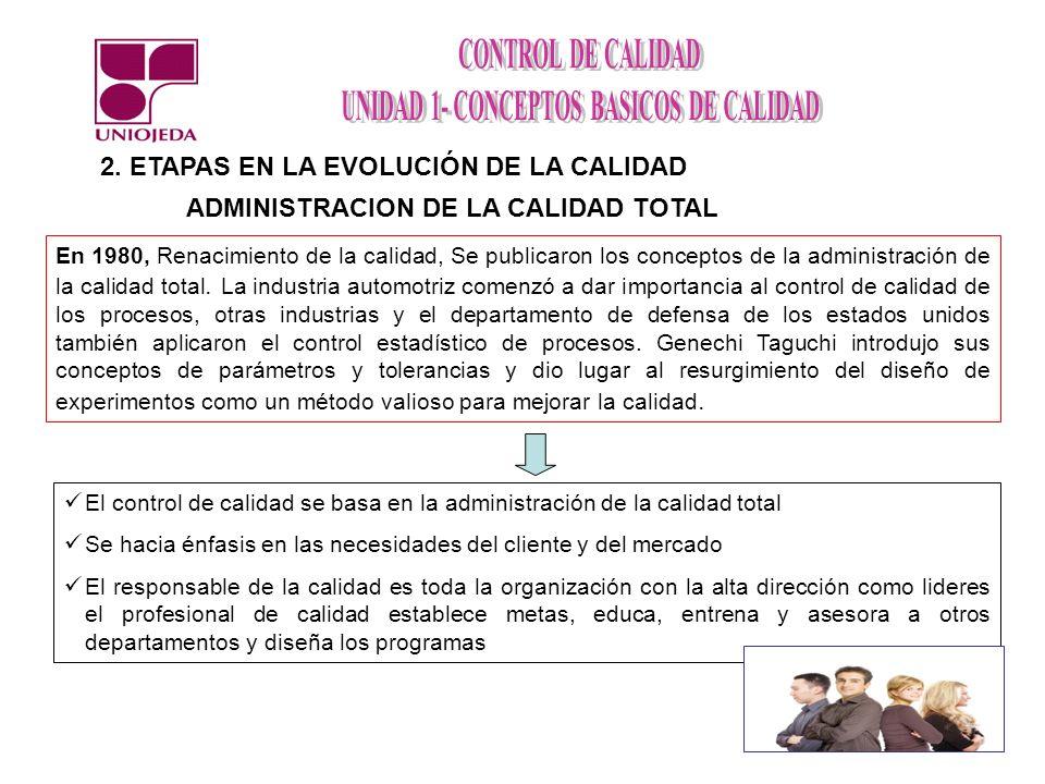 2. ETAPAS EN LA EVOLUCIÓN DE LA CALIDAD ADMINISTRACION DE LA CALIDAD TOTAL El control de calidad se basa en la administración de la calidad total Se h