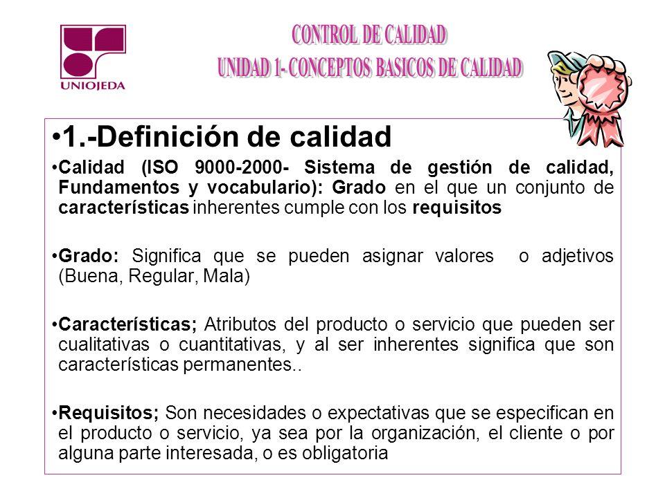 1.-Definición de calidad Calidad (ISO 9000-2000- Sistema de gestión de calidad, Fundamentos y vocabulario): Grado en el que un conjunto de característ