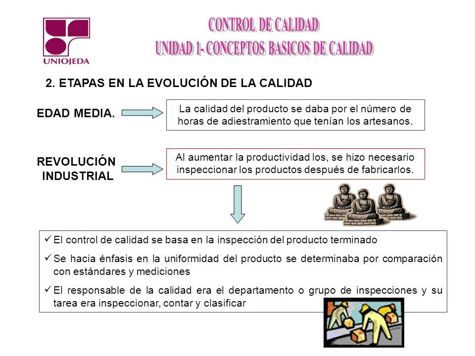 2. ETAPAS EN LA EVOLUCIÓN DE LA CALIDAD La calidad del producto se daba por el número de horas de adiestramiento que tenían los artesanos. EDAD MEDIA.