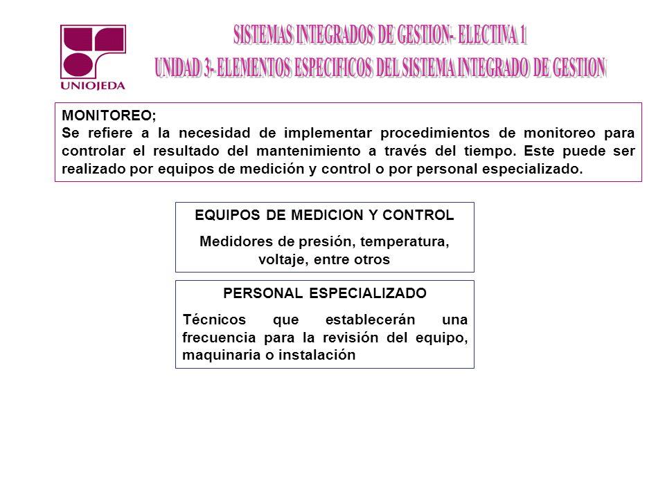 MONITOREO; Se refiere a la necesidad de implementar procedimientos de monitoreo para controlar el resultado del mantenimiento a través del tiempo. Est