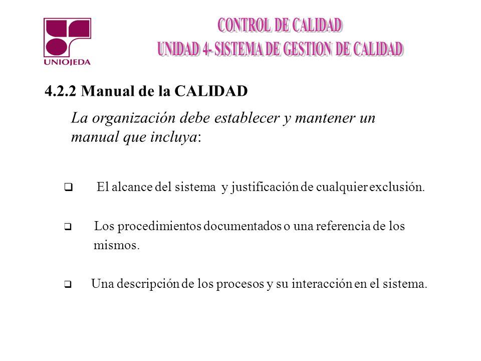 4.2.2 Manual de la CALIDAD La organización debe establecer y mantener un manual que incluya: El alcance del sistema y justificación de cualquier exclu