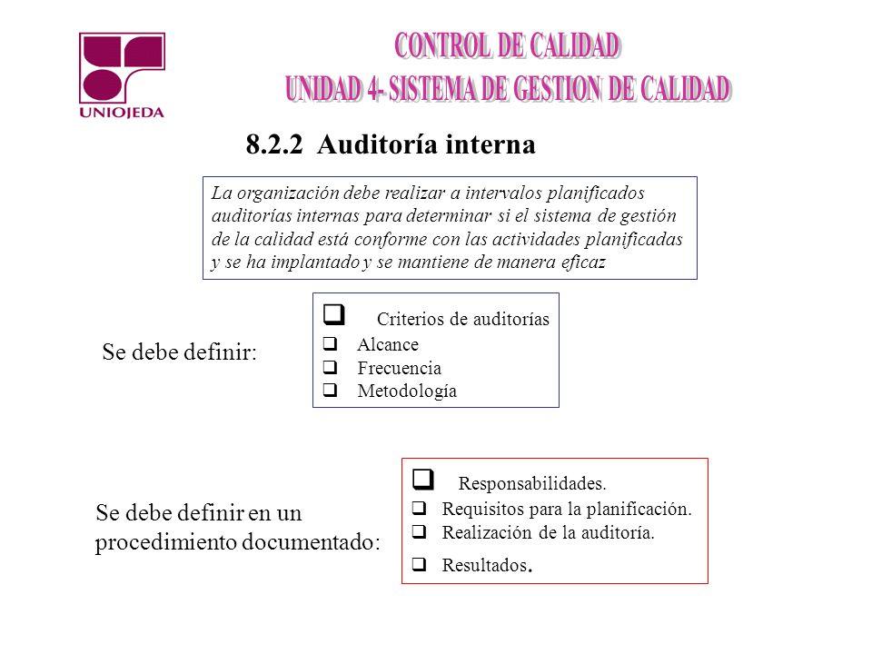 La organización debe realizar a intervalos planificados auditorías internas para determinar si el sistema de gestión de la calidad está conforme con l