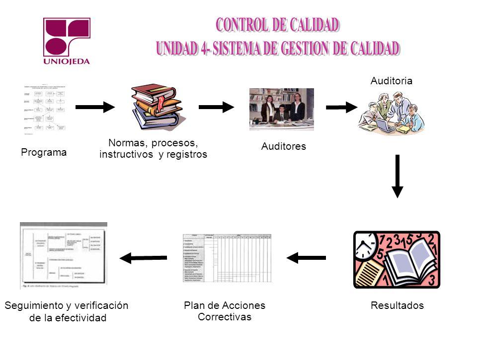 Normas, procesos, instructivos y registros Auditoria Resultados Programa Auditores Plan de Acciones Correctivas Seguimiento y verificación de la efect