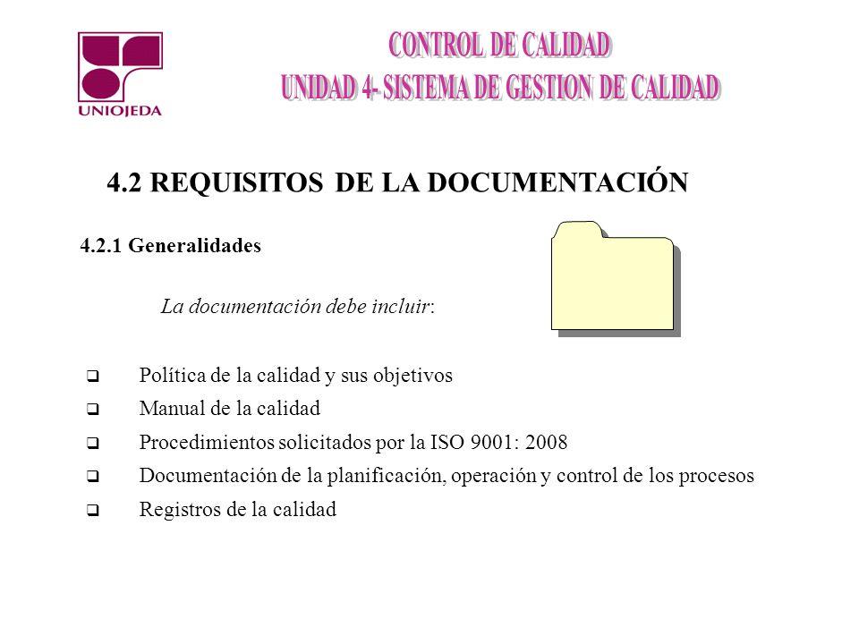 Procedimientos exigidos por la norma 1.- 4.2.3 Control de los documentos 2.- 4.2.4 Control de los registros de la calidad 3.- 8.2.2 Auditoría interna 5.- 8.5.2 Acciones correctivas 6.- 8.5.3 Acciones preventivas 4.- 8.3 Control del producto no conforme