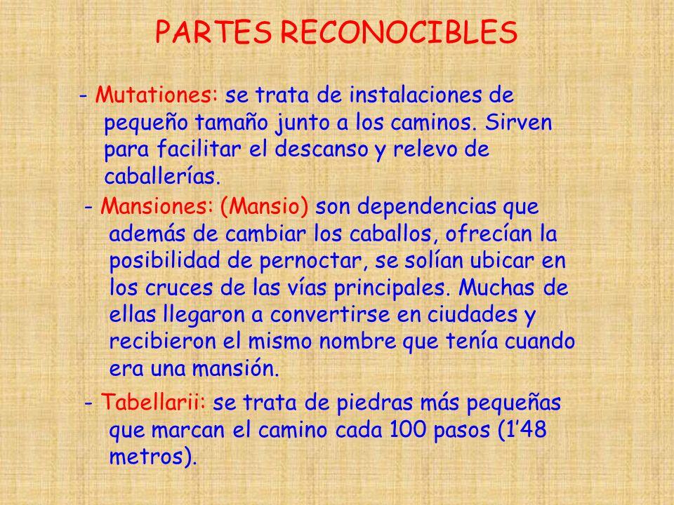 PARTES RECONOCIBLES - Mutationes: se trata de instalaciones de pequeño tamaño junto a los caminos. Sirven para facilitar el descanso y relevo de cabal