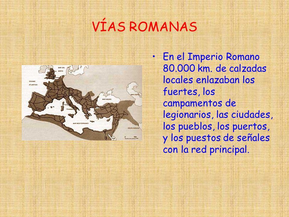 VÍAS ROMANAS En el Imperio Romano 80.000 km. de calzadas locales enlazaban los fuertes, los campamentos de legionarios, las ciudades, los pueblos, los