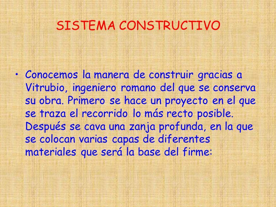 SISTEMA CONSTRUCTIVO Conocemos la manera de construir gracias a Vitrubio, ingeniero romano del que se conserva su obra. Primero se hace un proyecto en