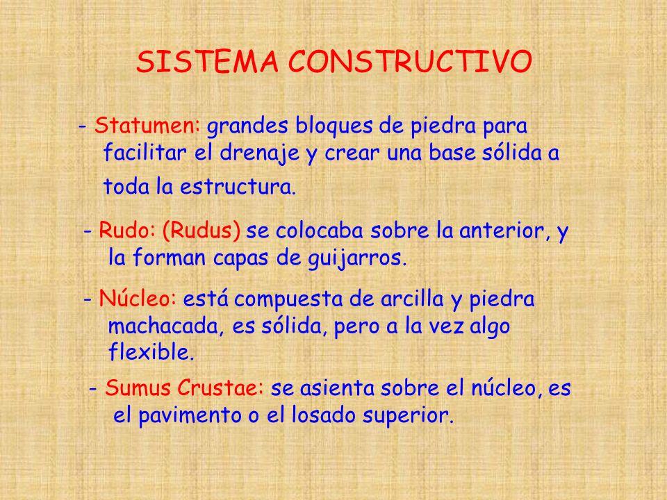 SISTEMA CONSTRUCTIVO - Statumen: grandes bloques de piedra para facilitar el drenaje y crear una base sólida a toda la estructura. - Rudo: (Rudus) se