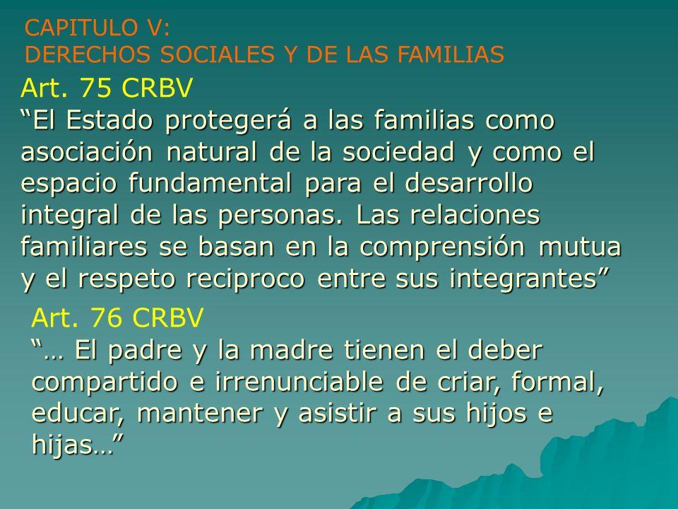 Art. 75 CRBV El Estado protegerá a las familias como asociación natural de la sociedad y como el espacio fundamental para el desarrollo integral de la