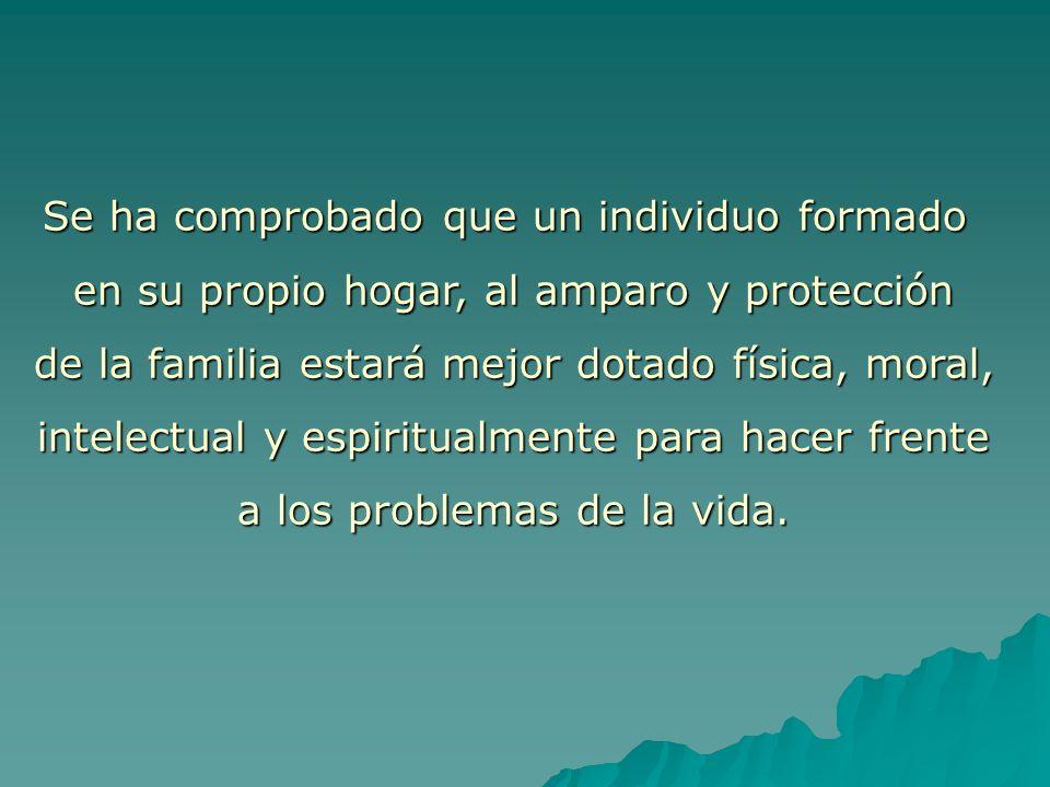 Se ha comprobado que un individuo formado en su propio hogar, al amparo y protección de la familia estará mejor dotado física, moral, intelectual y es