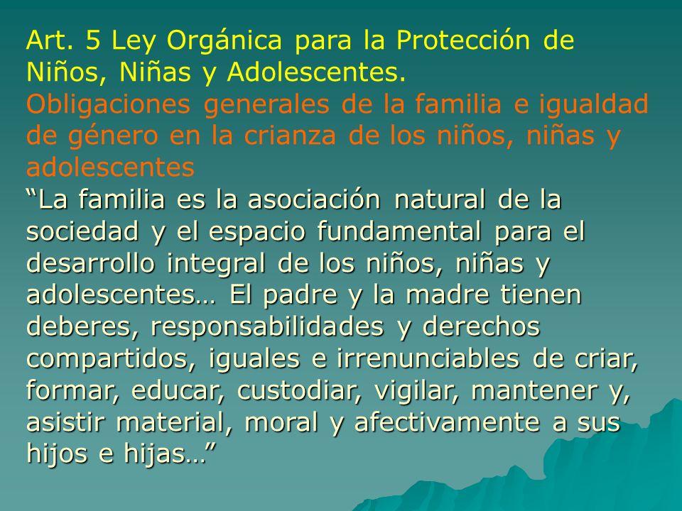 Art. 5 Ley Orgánica para la Protección de Niños, Niñas y Adolescentes. Obligaciones generales de la familia e igualdad de género en la crianza de los