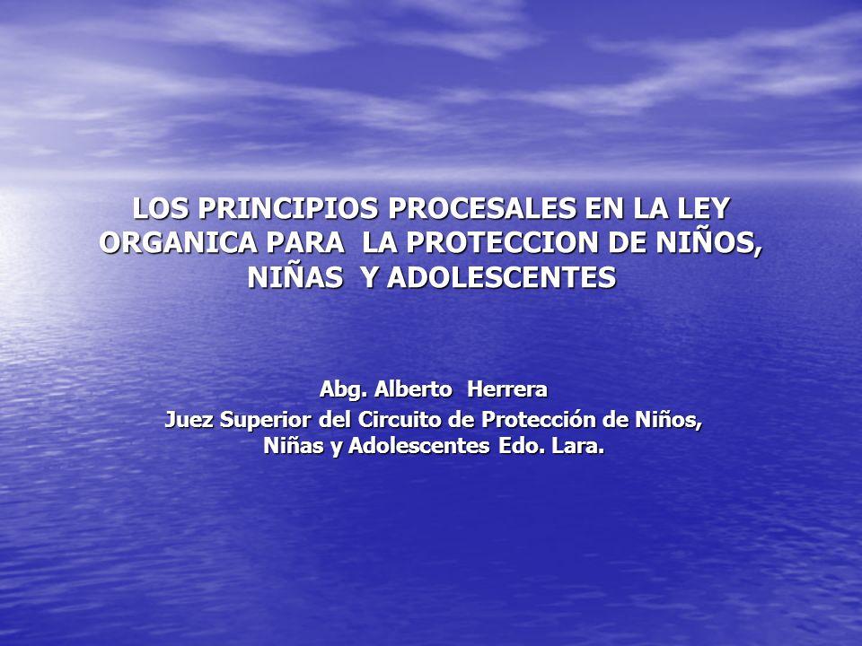 LOS PRINCIPIOS PROCESALES EN LA LEY ORGANICA PARA LA PROTECCION DE NIÑOS, NIÑAS Y ADOLESCENTES Abg. Alberto Herrera Juez Superior del Circuito de Prot