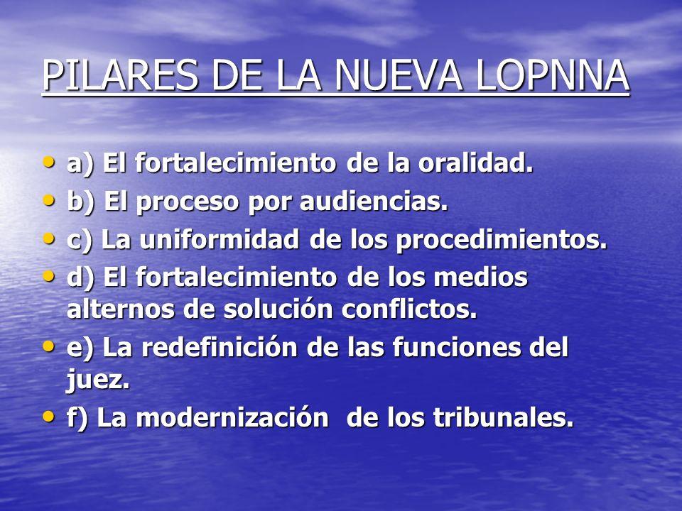 PILARES DE LA NUEVA LOPNNA a) El fortalecimiento de la oralidad. a) El fortalecimiento de la oralidad. b) El proceso por audiencias. b) El proceso por