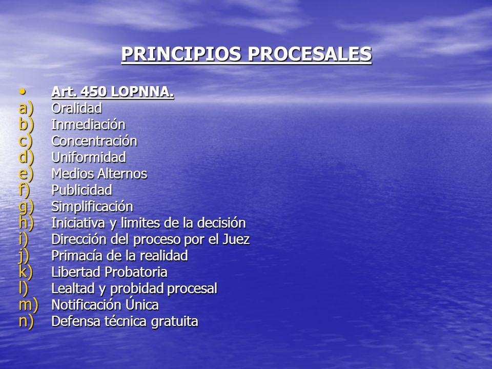 PRINCIPIOS PROCESALES Art. 450 LOPNNA. Art. 450 LOPNNA. a) Oralidad b) Inmediación c) Concentración d) Uniformidad e) Medios Alternos f) Publicidad g)