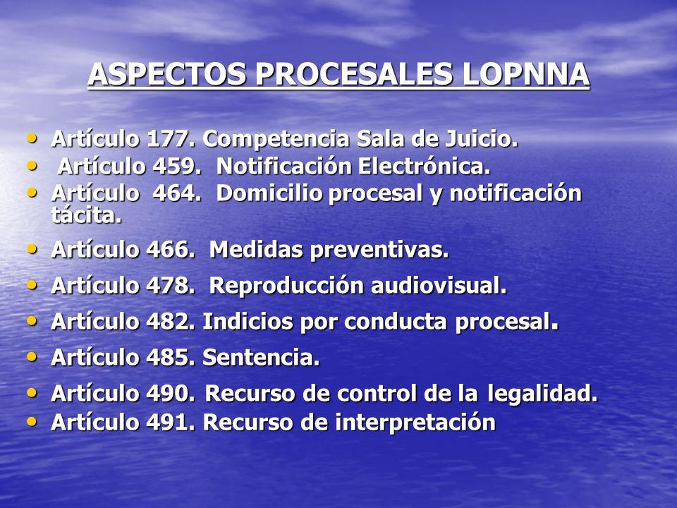 ASPECTOS PROCESALES LOPNNA Artículo 177. Competencia Sala de Juicio. Artículo 177. Competencia Sala de Juicio. Artículo 459. Notificación Electrónica.