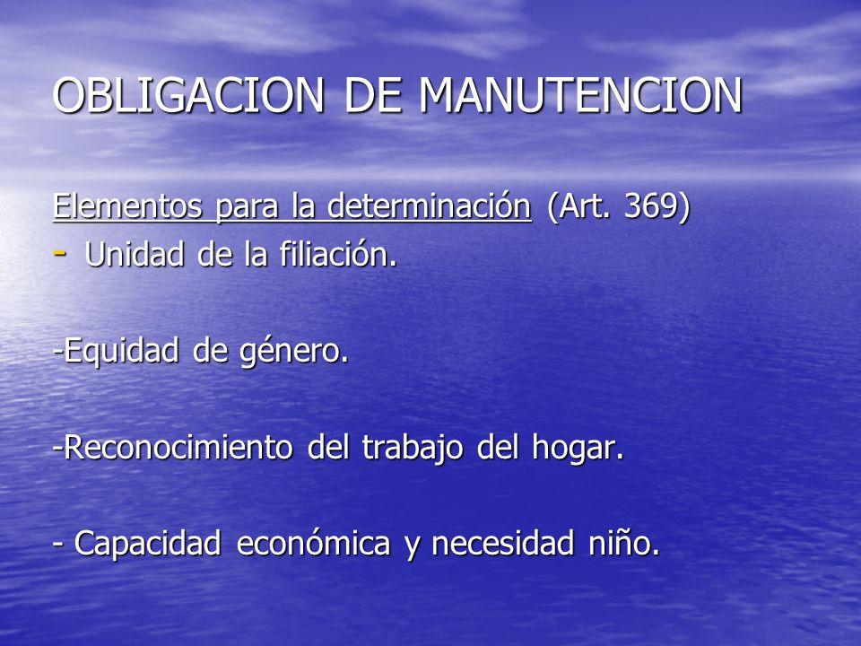 OBLIGACION DE MANUTENCION Elementos para la determinación (Art. 369) - Unidad de la filiación. -Equidad de género. -Reconocimiento del trabajo del hog
