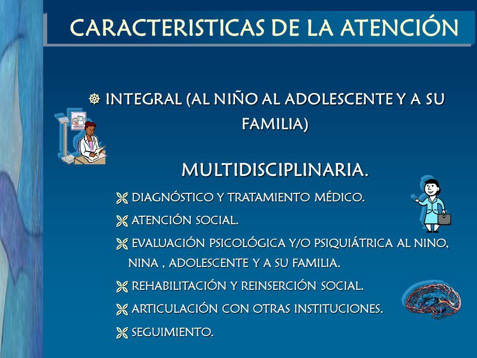 INTEGRAL (AL NIÑO AL ADOLESCENTE Y A SU FAMILIA) INTEGRAL (AL NIÑO AL ADOLESCENTE Y A SU FAMILIA) MULTIDISCIPLINARIA. DIAGNÓSTICO Y TRATAMIENTO MÉDICO