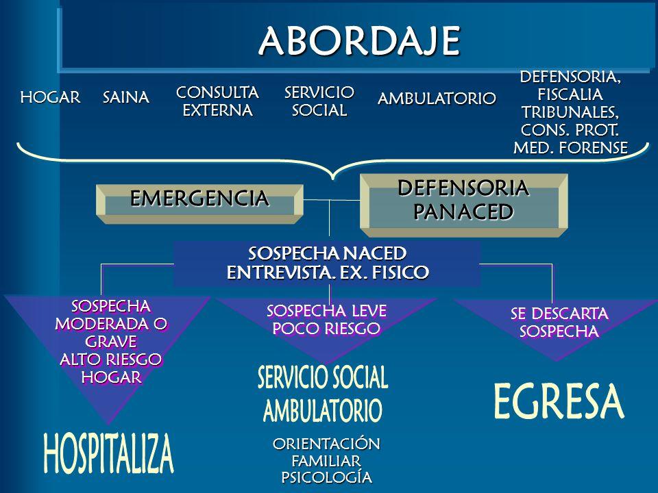 ABORDAJE HOGAR CONSULTAEXTERNA SAINA SERVICIOSOCIAL AMBULATORIO DEFENSORIA, FISCALIA TRIBUNALES, CONS. PROT. MED. FORENSE EMERGENCIA DEFENSORIAPANACED