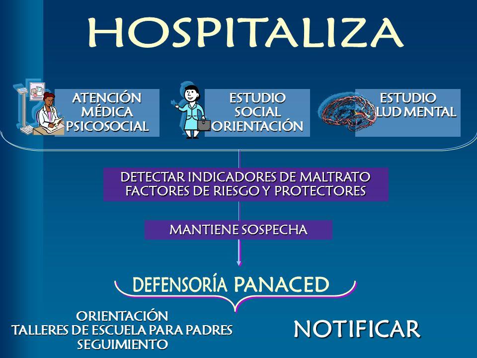ATENCIÓN MÉDICA PSICOSOCIAL ESTUDIO SOCIAL ORIENTACIÓN ESTUDIO SALUD MENTAL DETECTAR INDICADORES DE MALTRATO FACTORES DE RIESGO Y PROTECTORES MANTIENE