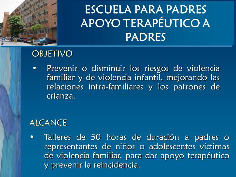 OBJETIVO Prevenir o disminuir los riesgos de violencia familiar y de violencia infantil, mejorando las relaciones intra-familiares y los patrones de c