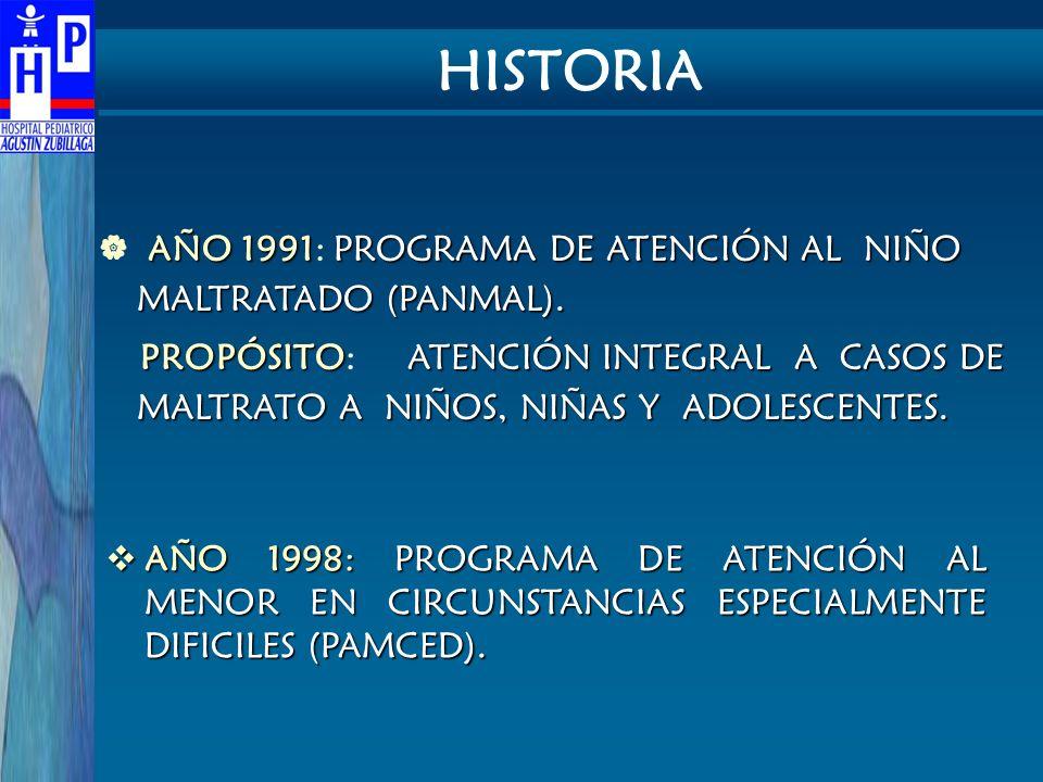AÑO 1991PROGRAMA DE ATENCIÓN AL NIÑO MALTRATADO (PANMAL). AÑO 1991: PROGRAMA DE ATENCIÓN AL NIÑO MALTRATADO (PANMAL). PROPÓSITOATENCIÓN INTEGRAL A CAS