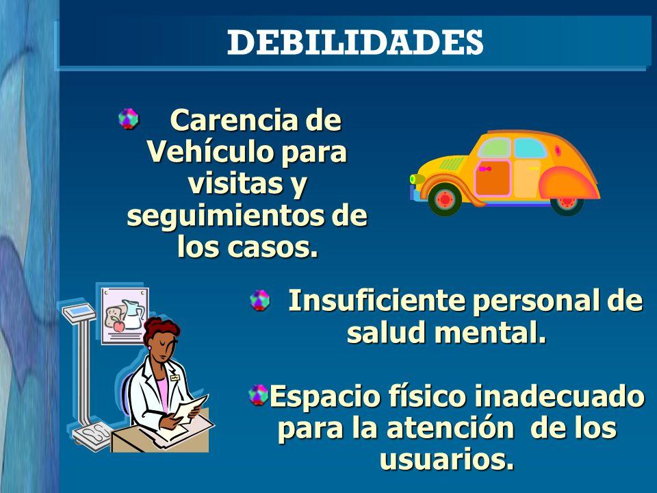 Carencia de Vehículo para visitas y seguimientos de los casos. Carencia de Vehículo para visitas y seguimientos de los casos. DEBILIDADES Insuficiente