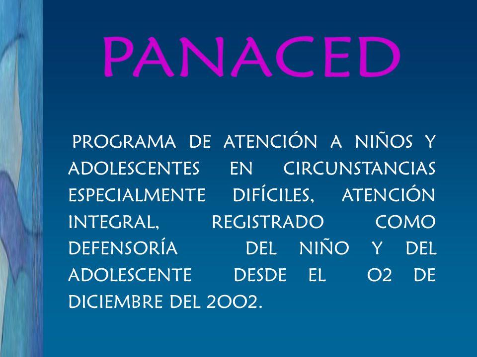 PROGRAMA DE ATENCIÓN A NIÑOS Y ADOLESCENTES EN CIRCUNSTANCIAS ESPECIALMENTE DIFÍCILES, ATENCIÓN INTEGRAL, REGISTRADO COMO DEFENSORÍA DEL NIÑO Y DEL AD
