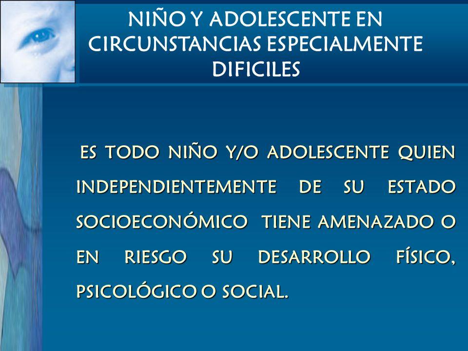 ES TODO NIÑO Y/O ADOLESCENTE QUIEN INDEPENDIENTEMENTE DE SU ESTADO SOCIOECONÓMICO TIENE AMENAZADO O EN RIESGO SU DESARROLLO FÍSICO, PSICOLÓGICO O SOCI