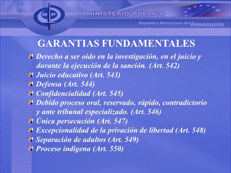 Derecho a ser oído en la investigación, en el juicio y durante la ejecución de la sanción. (Art. 542) Juicio educativo (Art. 543) Defensa (Art. 544) C