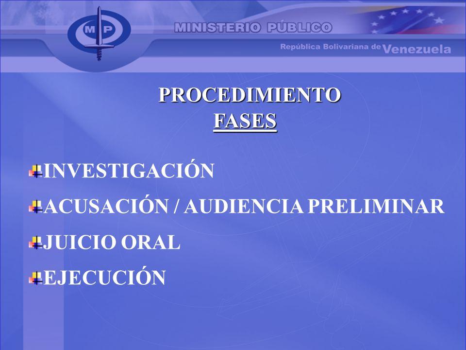 PROCEDIMIENTO FASES INVESTIGACIÓN ACUSACIÓN / AUDIENCIA PRELIMINAR JUICIO ORAL EJECUCIÓN