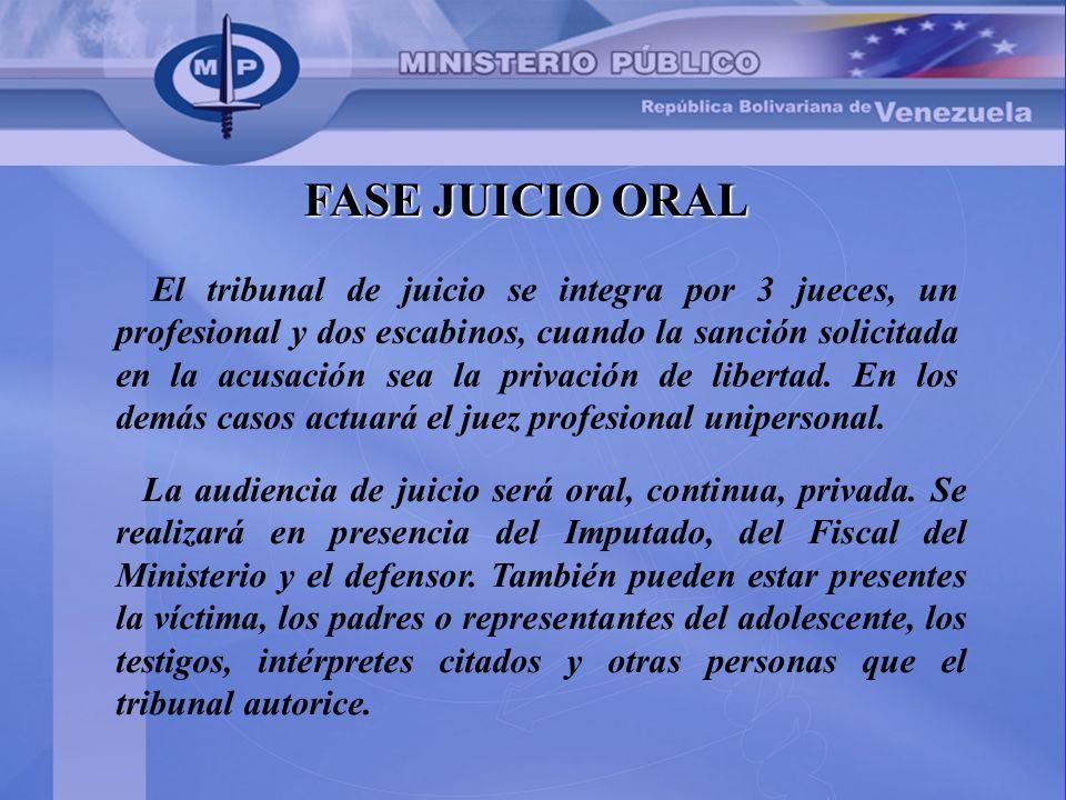 FASE JUICIO ORAL El tribunal de juicio se integra por 3 jueces, un profesional y dos escabinos, cuando la sanción solicitada en la acusación sea la pr